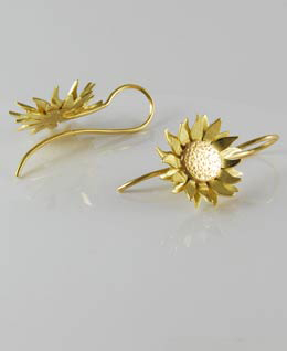 Sunflower Earrings 18ct Red & Yellow Gold
