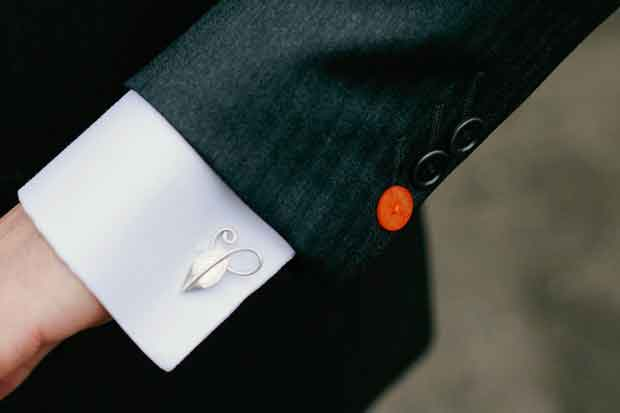 Beech Leaf Cufflinks for Groom & Ushers