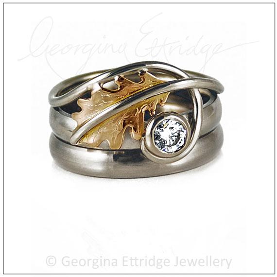 Oak Leaf Wedding Ring Set inspired by nature