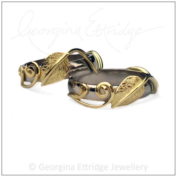 Alternative wedding rings leaf inspired