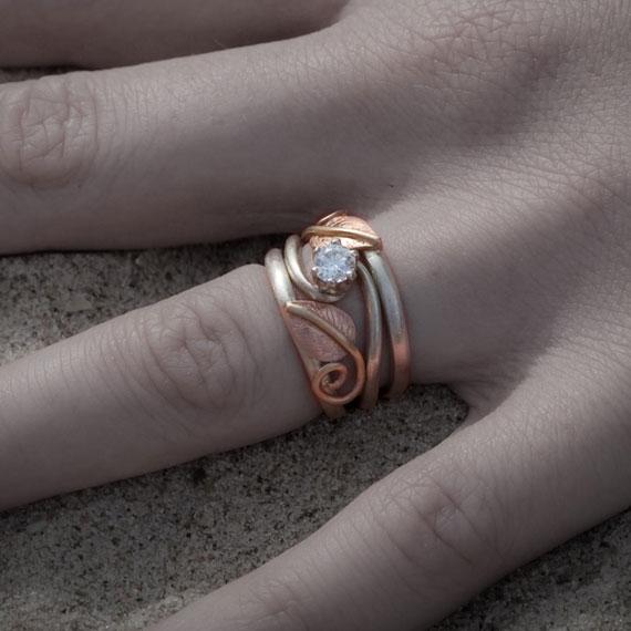 Alternative Wedding Ring Set - Nature Inspired Leaves & Tendrils