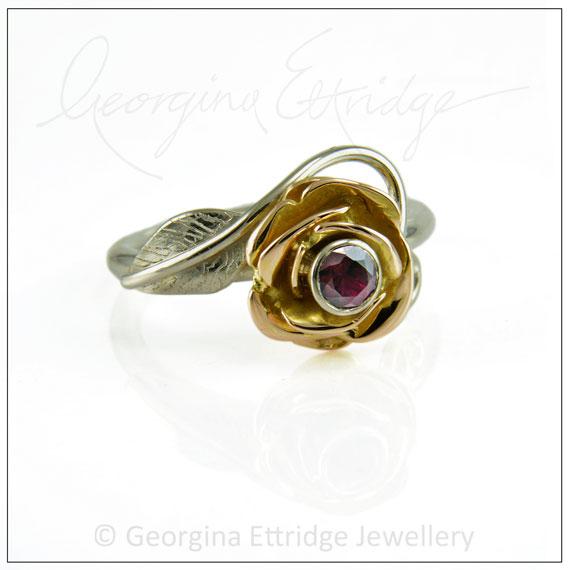 Alternative vintage rose tattoo engagement ring