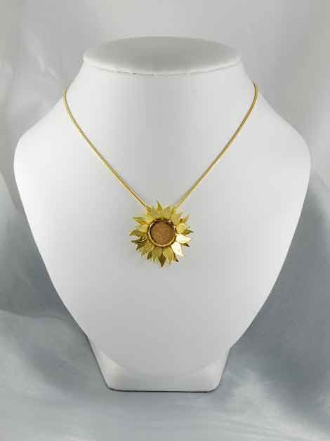 Sunflower Necklace Pendant 18ct Red & Yellow Gold