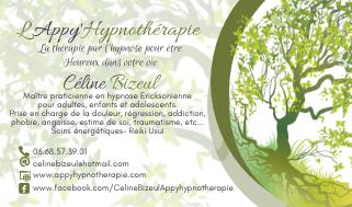Carte de visite Céline Bizeul et l'Appy'Hypnothérapie ou HappyHypnothérapie
