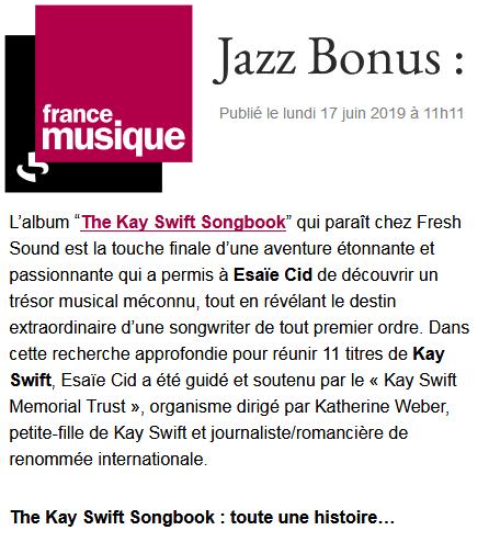 FRANCE MUSIQUE - Juin 2019- émission Jazz Bonus, par Alex Dutilh