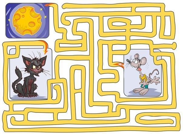 помоги мышке дойти до сыра и не попасть в лапки кота.
