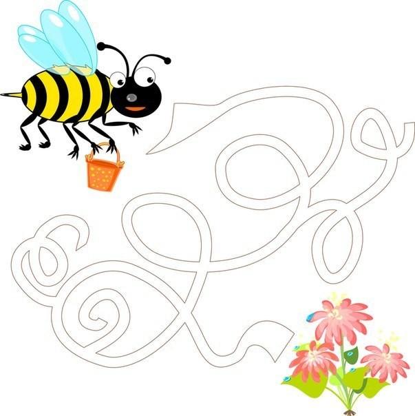 помоги пчелке долететь до цветка.