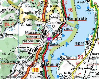 Mappa- siamo a 10 minuti di auto da Arona e da Stresa. Siamo a 60 Km da Milano.