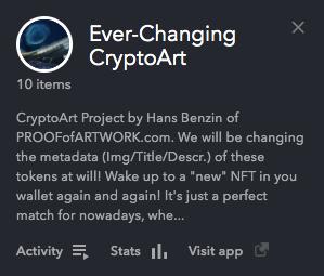 Ever-Changing CryptoArt NFT-Store on OpenSea Description Screenshot
