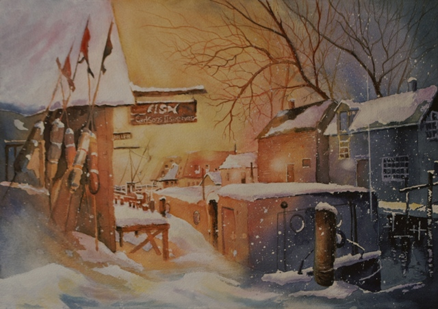 CARLSON FISKERIES IM WINTER  - AQUARELL