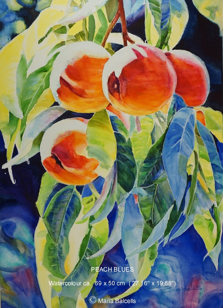 PEACH BLUES- PFIRSICHE BLUES /  AQUARELL