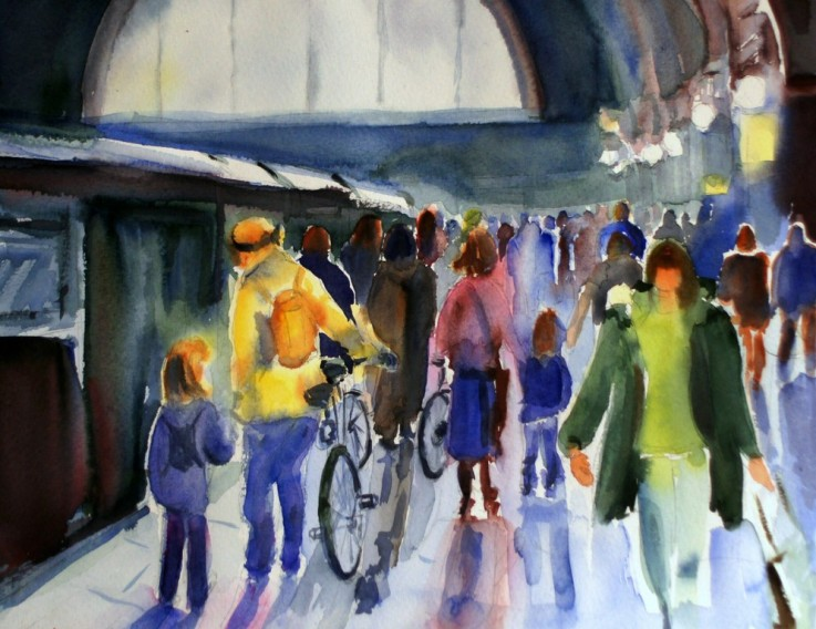 BAHNHOF CENTRAL STATION - AQUARELL