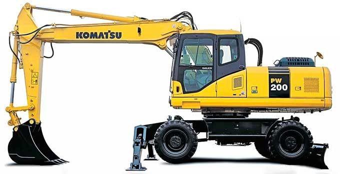 Колесный экскаватор Komatsu PW200-7 эксплуатационной массой 22,1 т с ковшом емкостью 1,58 м