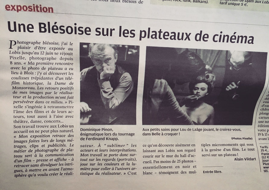 """Article Nouvelle République  """" Une blésoise sur les plateaux de cinéma """""""