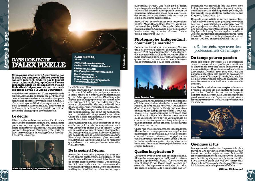 """Cover et Article """"Dans l'objectif de Pixelle """"    Centri'fuge le Mag"""