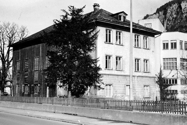 Blick von der Garage Sauter zum Wiggispark vor 1974, Foto Jakob Kubli