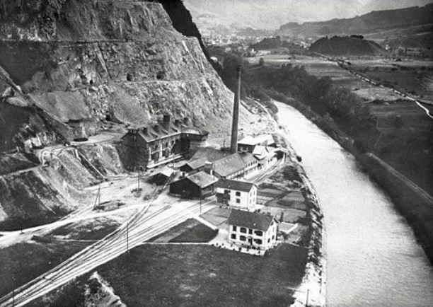 Alte Kalkfabrik 1920. Flugaufnahme von Walter Mittelholzer