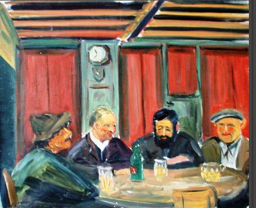 """Bild eines unbekannten Malers: Netstaler Originale am Stammtisch im Restaurant Harmonie. Zu erkennen ist ganz links der """"Äbä"""" und der zweite von rechts ist der """"Zeiger Frigg"""". (Bild im Besitze  der Familie Heiri Weber-Wunderlin,)."""