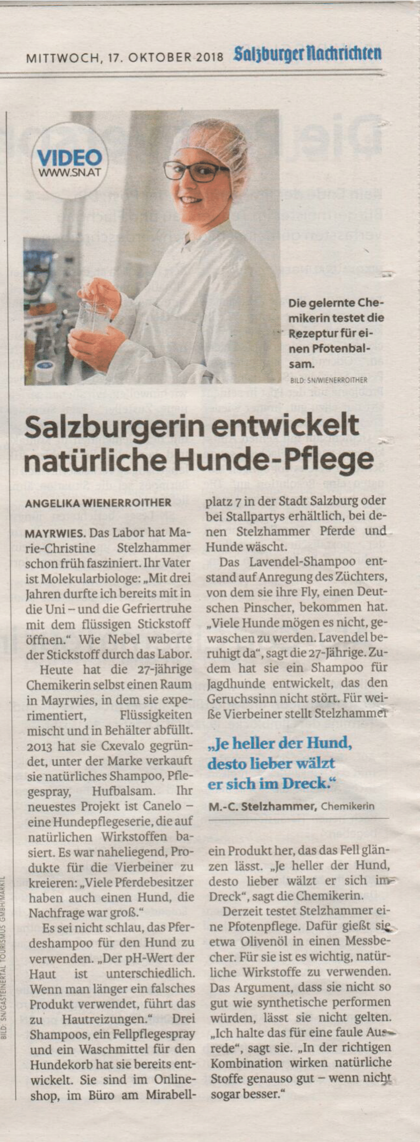 Ein Bericht über CANELO Gründerin Marie-Christine Stelzhammer in den Salzburger Nachrichten vom 17.10.2018