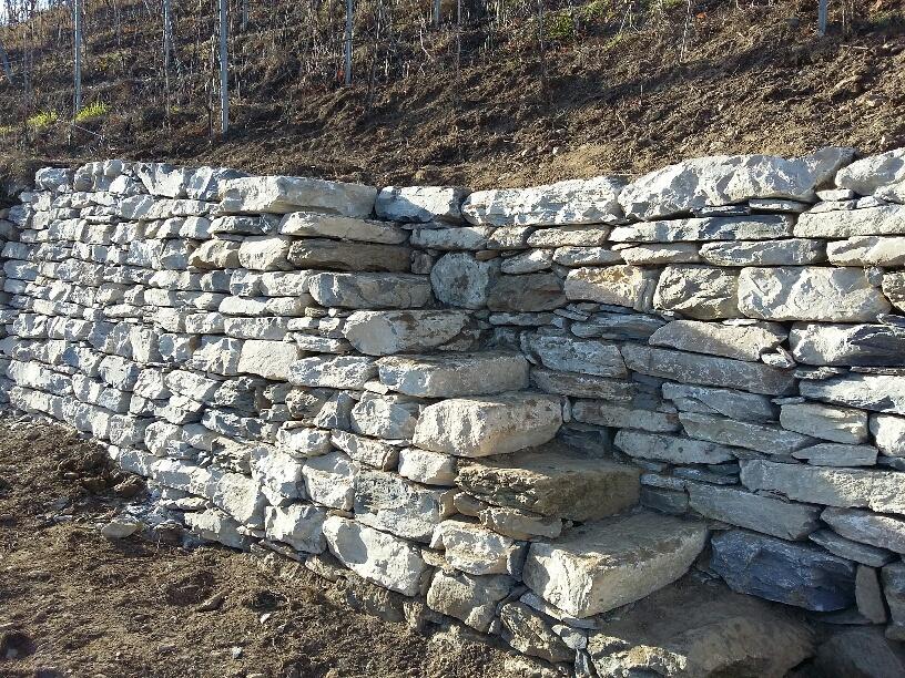 Escalier en pierre sèche Vignoble de Martigny