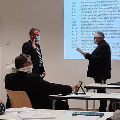 Vereidigung durch den Altersvorsitzenden Klaus Nolting am 05.11.2020