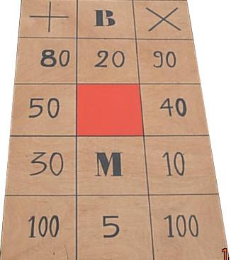 le plateau suisse : Chaque joueur lance ses palets et en fonction la case, on additionne, soustrait, annule ses points !    A partir de 4 ans