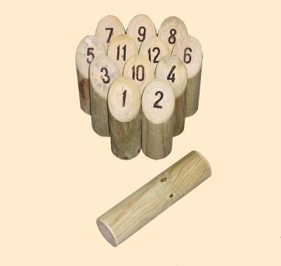 le molkky : Un jeu de quilles d'origine finlandaise, à mi-chemin entre la pétanque et le bowling Ce sont des morceaux de bois ronds tronqués à la tête. Sur la partie tronquée, le numéro de la quille apparaît ainsi au joueur qui lance. Les douze quilles so
