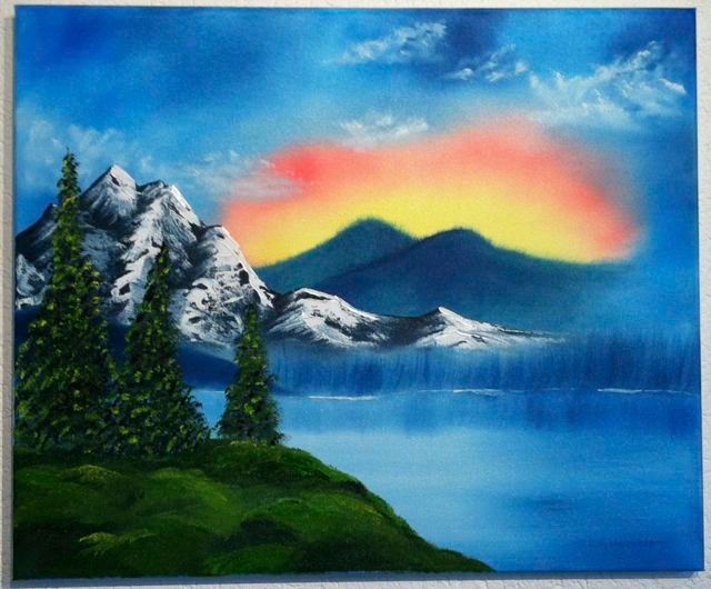 """Sonnenuntergang hinterm Berg"", Bob-Ross-Technik, Öl"