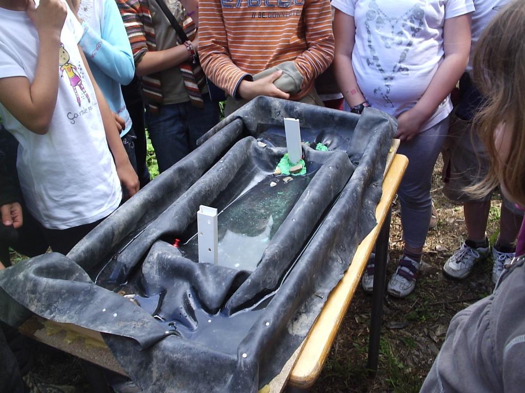 maquette explicant le fonctionnement hydraulique de l'étang