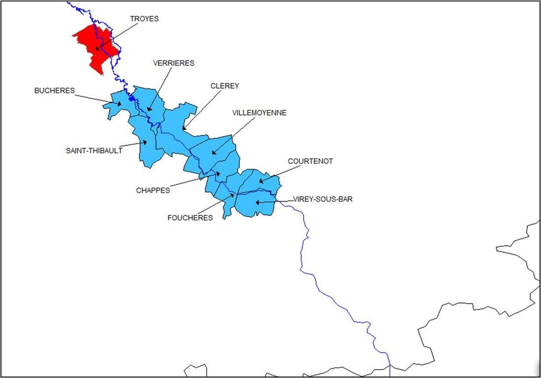 zone d'étude sur les moulins SIAV Seine amont de Troyes