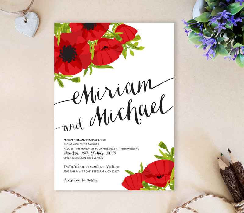Bright Business Card Red Color: Poppy Flowers Wedding Invitations