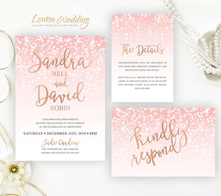 Rose Gold Wedding Invitation Sets