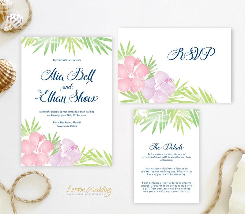 Wedding Invitations Hawaii: Hawaiian Wedding Invitation Sets