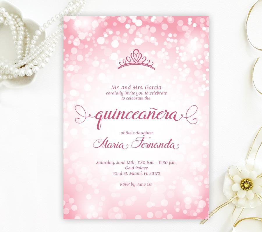 Pink Quinceanera Invitations Lemonwedding