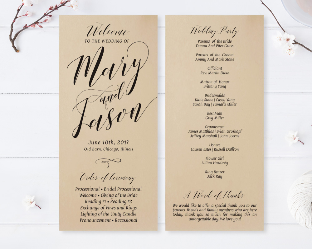 Wedding Ceremony Programs.Kraft Wedding Ceremony Programs