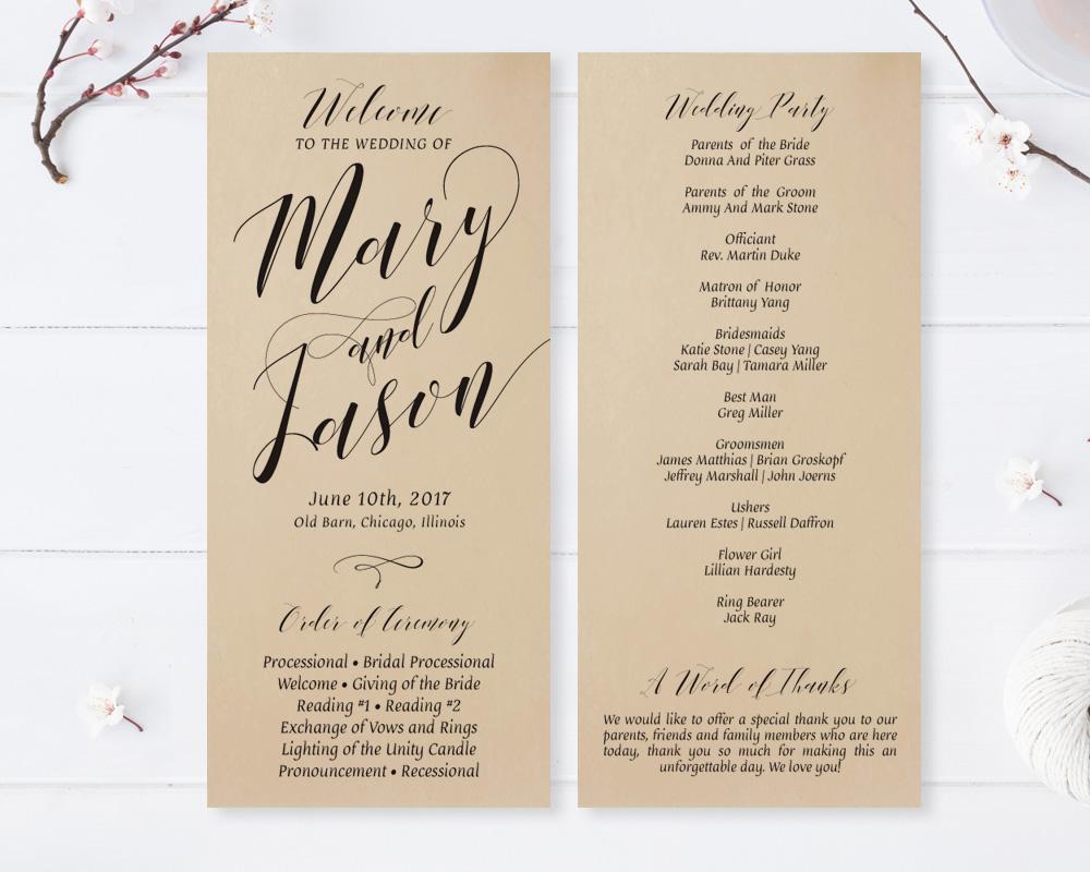 Kraft Wedding Ceremony Programs