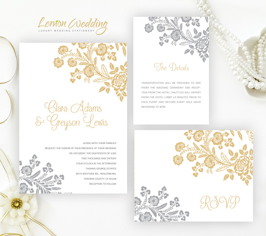 Gold Wedding Invitations.Silver And Gold Wedding Invitations