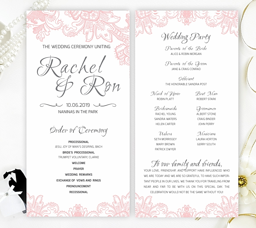 Wedding Ceremony Programs.Blush Wedding Ceremony Programs