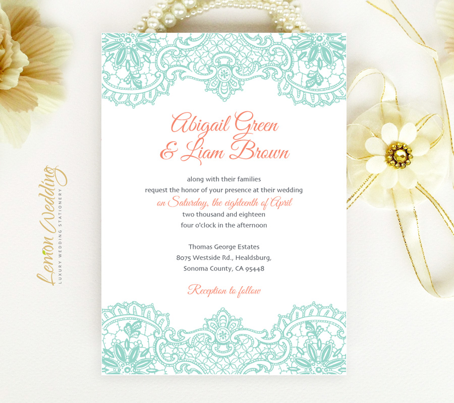 Coral And White Wedding Invitations: Mint And Coral Wedding Invitations