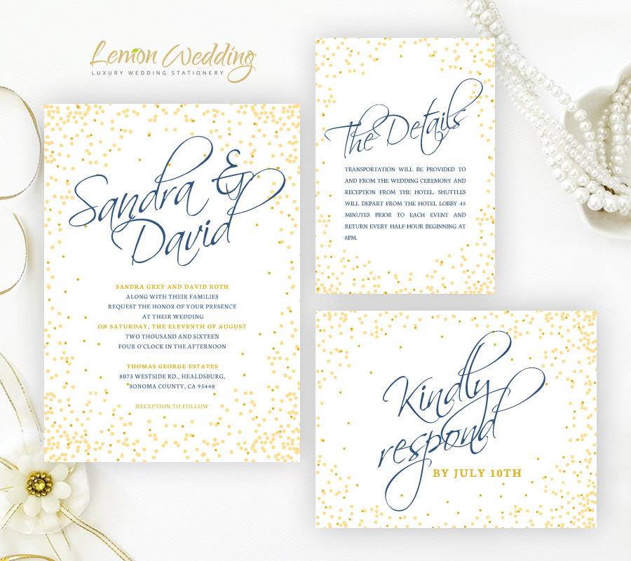 Confetti Wedding Invitations - LemonWedding