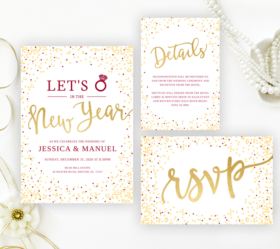 Gold New Year's Eve Wedding Invitations