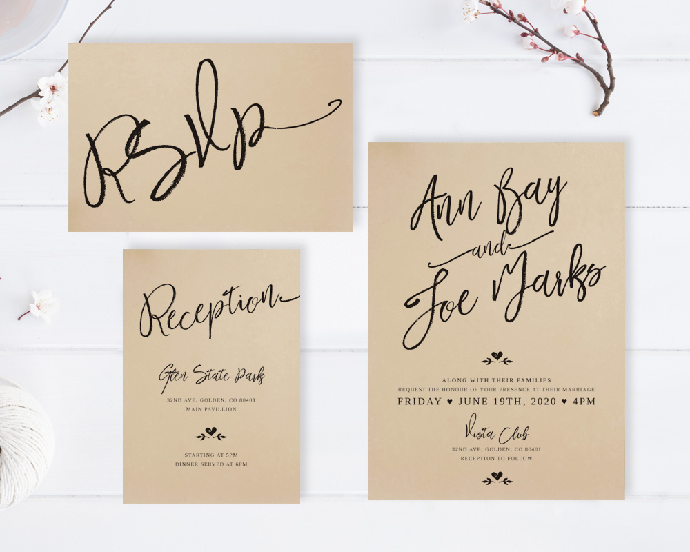 Calligraphy Wedding Invitation Sets - LemonWedding