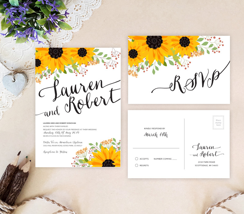 Rustic Sunflower wedding invitations LemonWedding
