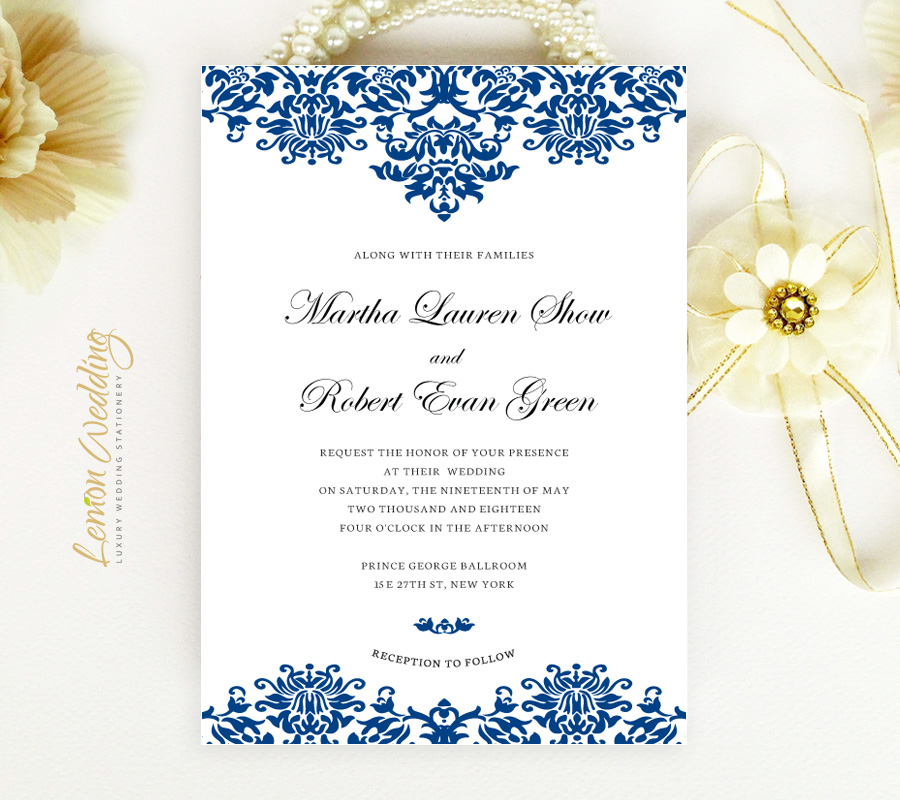 Royal Blue Wedding Invitations LemonWedding