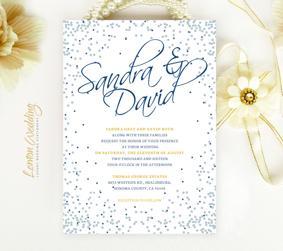 Wedding Invitations Blue And Silver: Blue And Silver Wedding Invitations