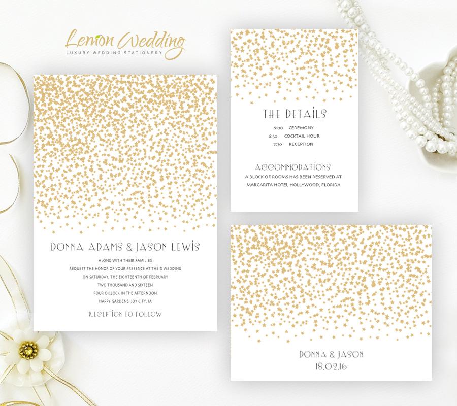 Gold Stars Wedding Invitations Lemonwedding