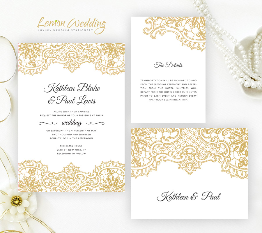 Wedding Invitations With Lace: Lace Wedding Invitations