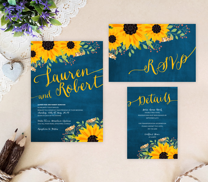 Sunflower Themed Wedding Invitations - LemonWedding