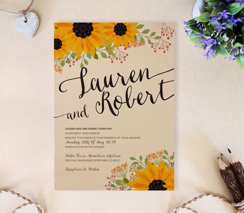 Rustic Sunflower Wedding Invitations - LemonWedding