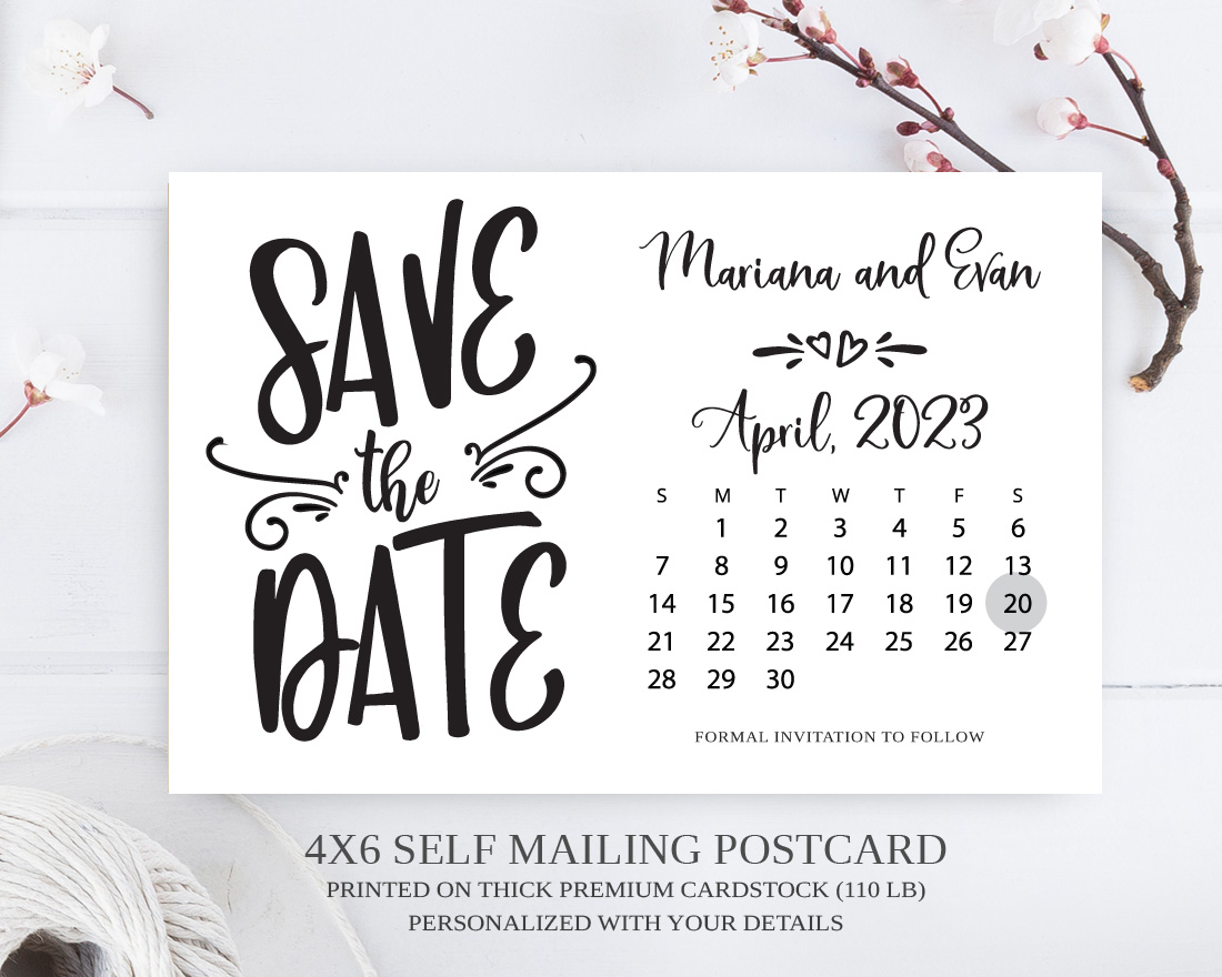 Calendar Save The Date Postcards